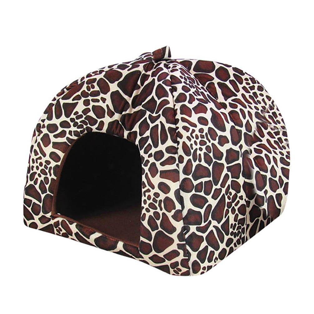 JEELINBORE Suave Caliente Perro Gato Cama Fresa Cálido Plegable Casita Casa para Mascota (Leopardo, XL: 43 * 43 * 45cm): Amazon.es: Hogar