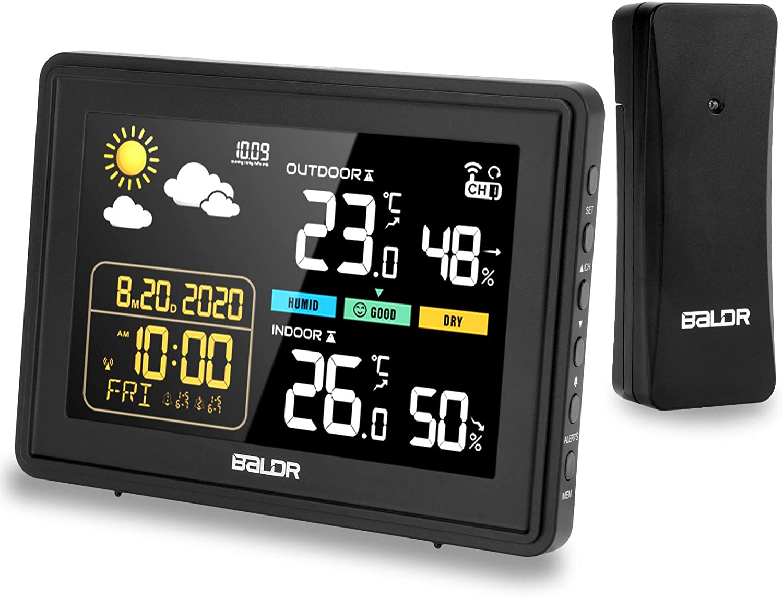 Viflykoo Estacion Meteorologica Inalámbrica, Termometros Higrometro Interiores y Exteriores, Monitor de Temperatura con Pantalla de Sensor LCD, Pronóstico del Tiempo,Mini Reloj Digital-Negro