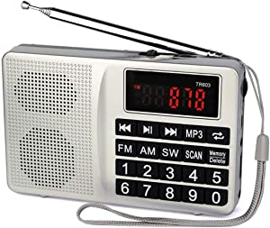 TIVDIO TR603 Portable AM FM Radio, Shortwave Transistor Radio, Rechargeable Mini MP3 Player Support TF, USB, AUX Input Ideal Gift for Senior (Silver)