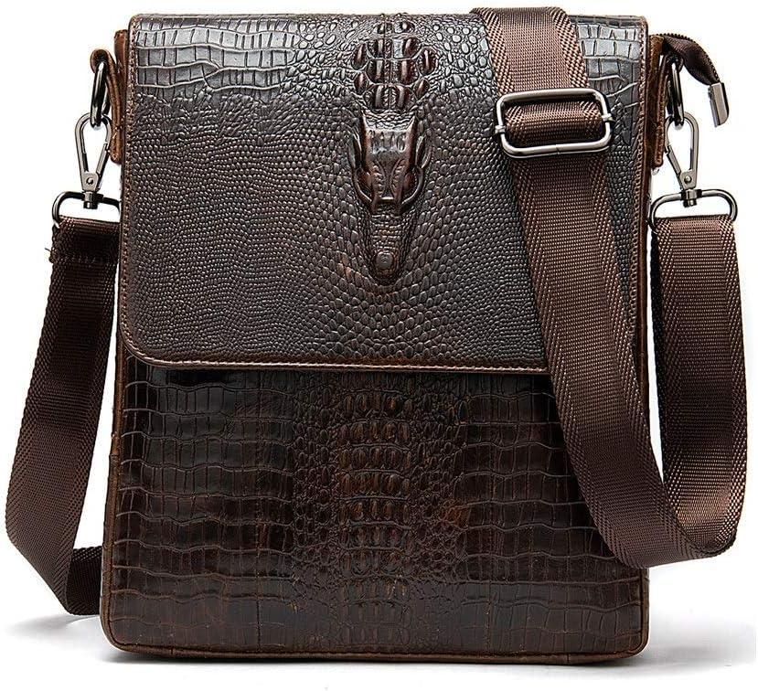 Black//Brown Color : Black Solid Color Crocodile Print Multi-Functional Large Capacity Business Handbag Fengkuo Briefcase Vertical Leather Retro Casual Man Shoulder Bag 21x5x24cm