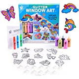TBC The Best Crafts Glitter Window Art for Kids, DIY Stained Glass Effect Acrylic Suncatchers Arts & Crafts Kit, 12 Suncatche