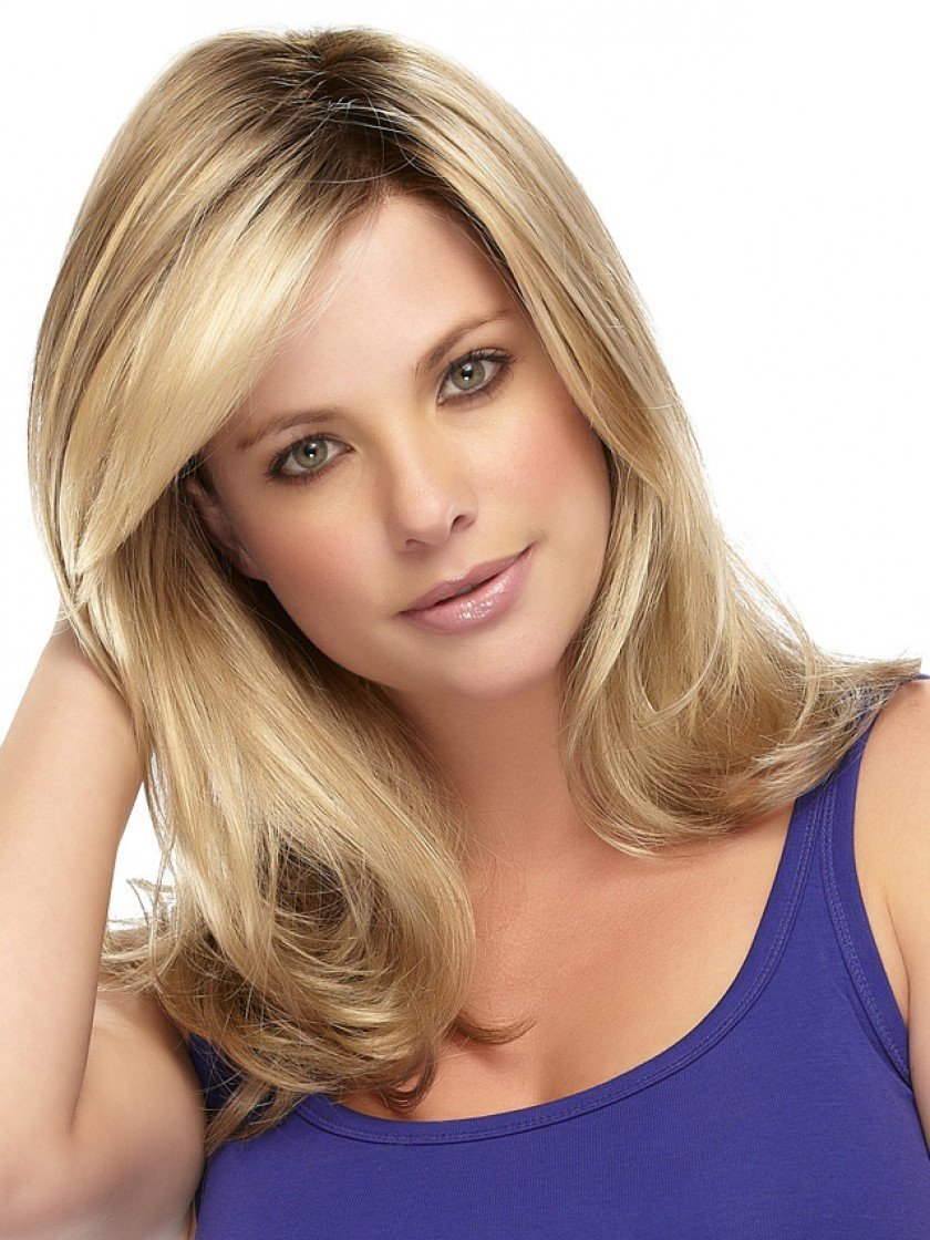 Kalyss Ladies Ombre Blonde Dark Brown Roots Long Curly Wavy Heat Resistant Synthetic Hair Wig for Women Blonde Wig with Bangs by Kalyss