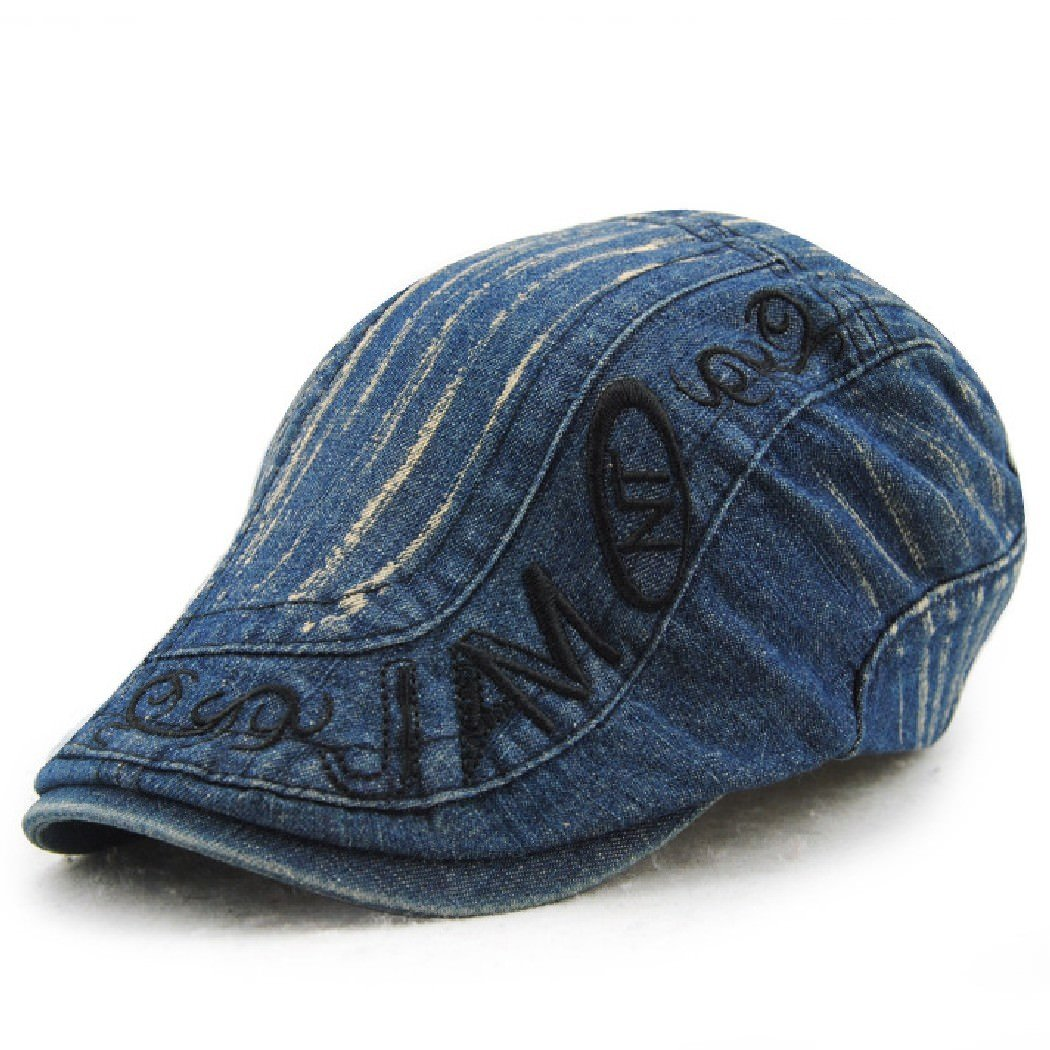 0cb5594d7a489 Jamont Men s Summer Cool Denim Patchwork Flat Visor Newsboy Beret Cap Hat   Amazon.ca  Clothing   Accessories