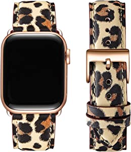 OMIU Square Bands Compatible for Apple Watch 38mm 40mm 42mm 44mm, Genuine Leather Replacement Band Compatible with Apple Watch Series 6/5/4/3/2/1, iWatch SE (Leopard/Rose Gold, 38mm 40mm)