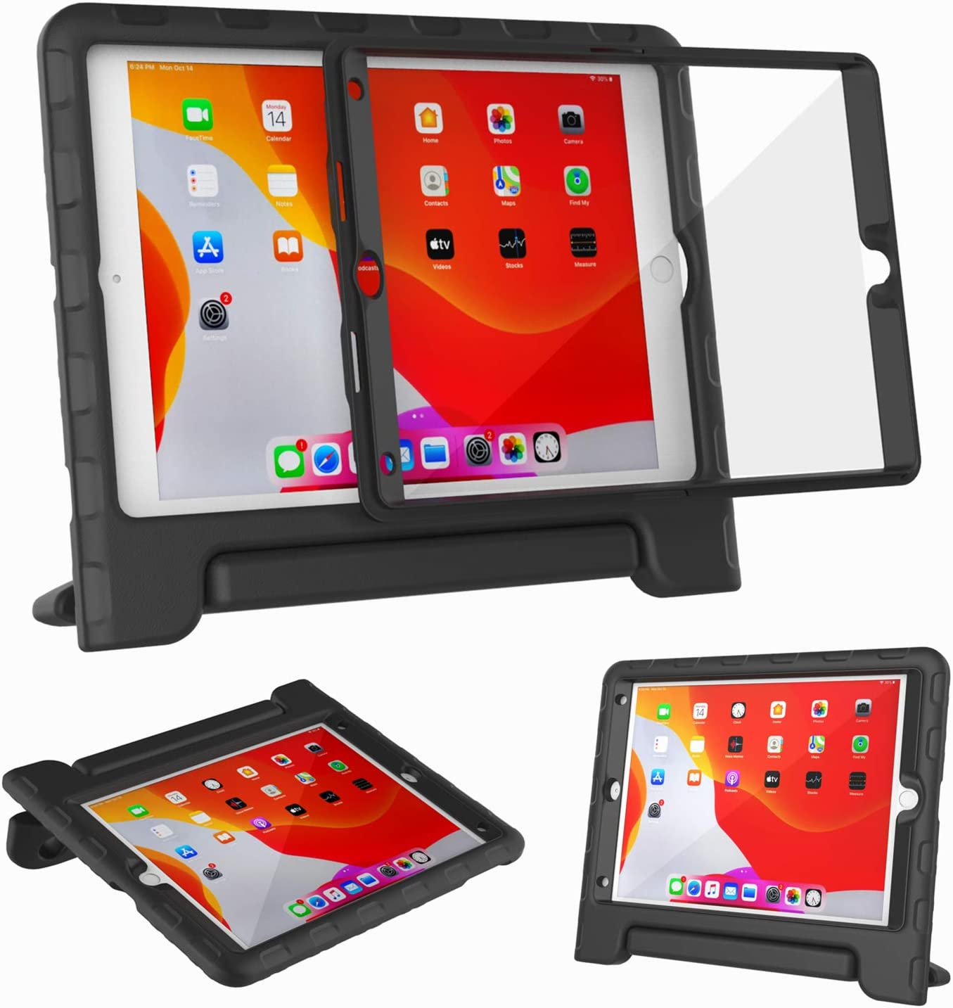 """Kids Case for iPad 10.2"""" 8th & 7th Generation 2020/2019 - with Built-in Screen Protector, Shockproof Lightweight Handle Stand Kids Case for iPad 10.2"""" 2020 Latest Model Cover (Black)"""