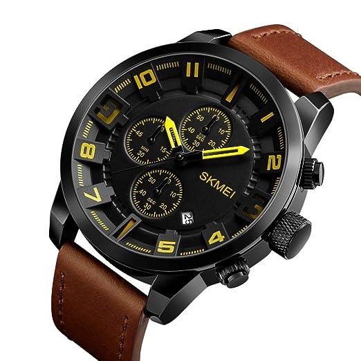 Hombres de negro Casual relojes hombres grandes Dial Cronógrafo Cuero impermeable cuarzo relojes de pulsera: Amazon.es: Relojes