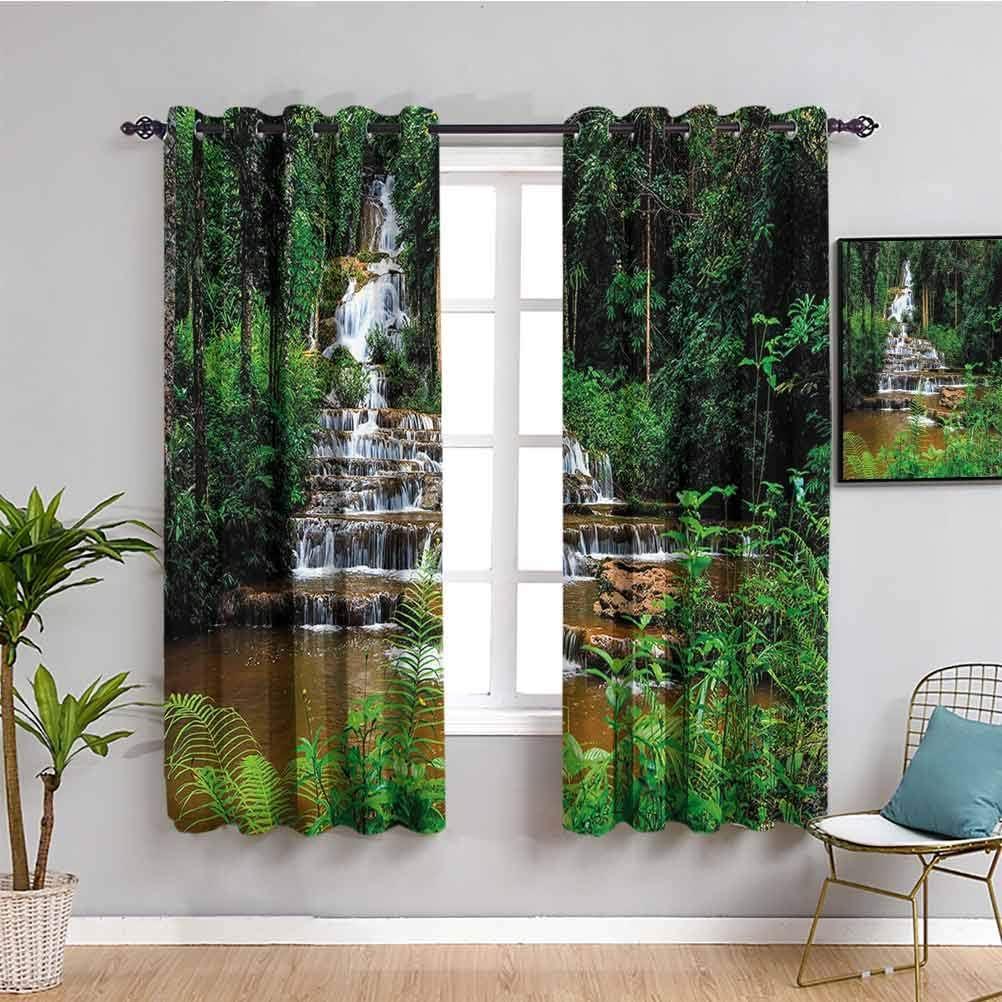 Cortina para niños con diseño de cascada en bosque tropical tropical con árboles botánicos exóticos y arbustos, sombra insonorizada, color verde