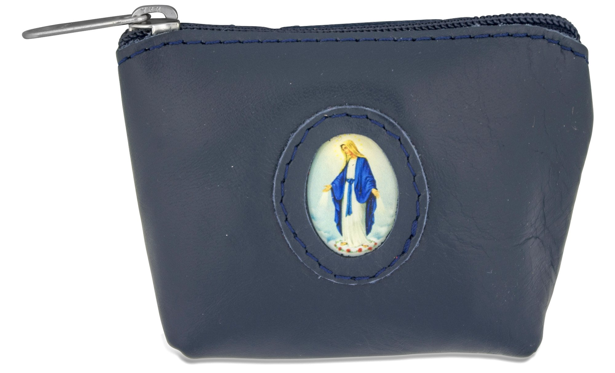 Rosary Case in Italian Leather (Blue, Immaculate Conception)