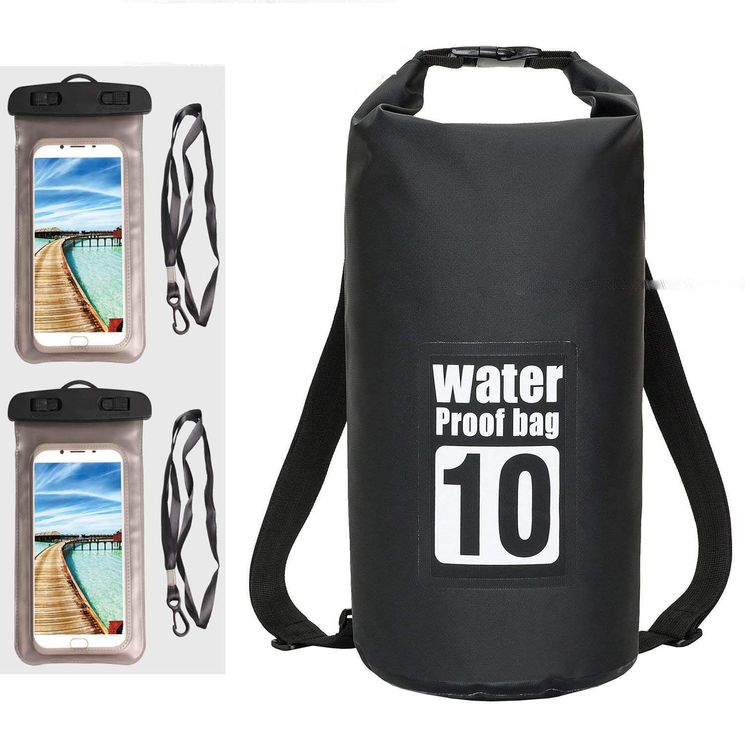 Floating Waterproof Dry Bag 10L, Roll Top Sack Keeps Gear Dry for Beach Boating, Kayaking, Rafting, Swimming, Camping, Hiking, Canoeing, Fishing with 2 Waterproof Phone Cases