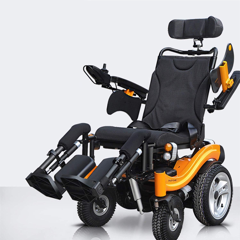 WZCXYX Silla de Ruedas eléctrica Plegable, Scooter para Ancianos/Soporte Plano, Rueda Trasera audaz/Silla de Ruedas Todoterreno/Elevación eléctrica de piernas