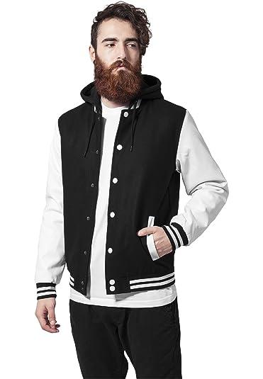 1b7371f6 Urban Classics TB438 Hooded Old School College Jacket Man Slim Fit Black  White L