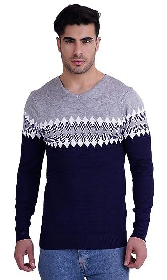 53ab7491 Miss U Mens Winter Wear Round Neck Warm Acrylic Wool Sweater for Winters  (Grey,