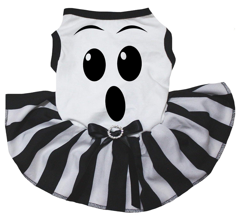 Petitebella Ghost Face White Shirt Striped Tutu Puppy Dog Dress
