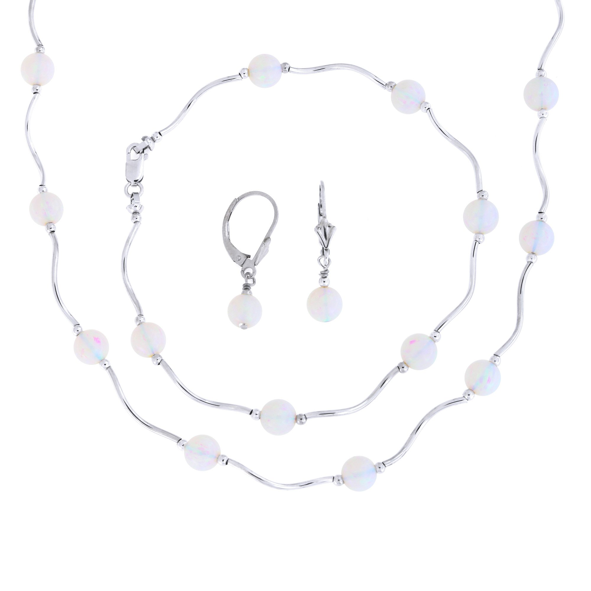 Sterling Silver Rhodium Plated 6mm Simulated White Opal Station Necklace, Earrings and Bracelet Set