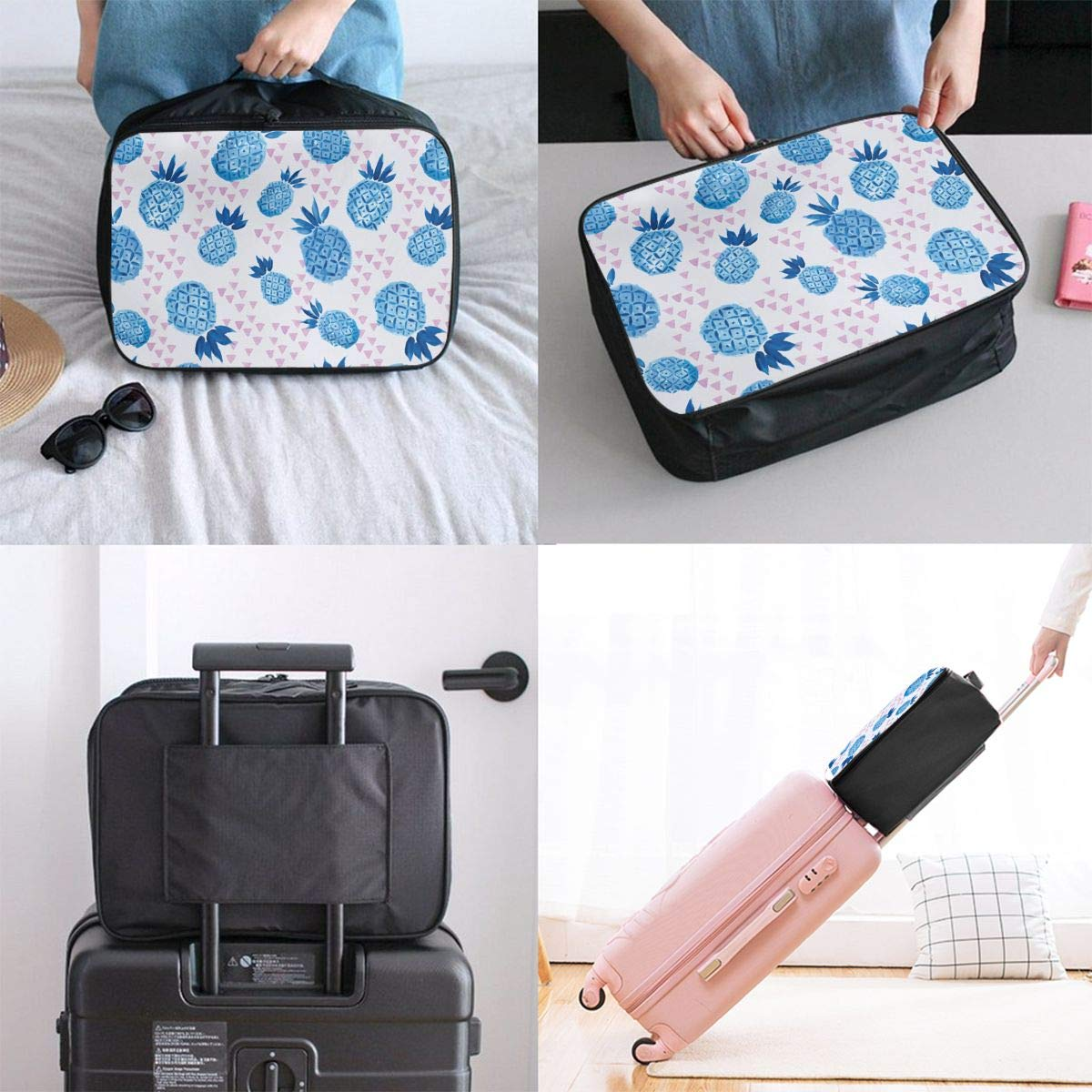 YueLJB Pineapple Blue Watercolor Lightweight Large Capacity Portable Luggage Bag Travel Duffel Bag Storage Carry Luggage Duffle Tote Bag