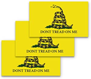 3x5 Dont Tread on Me Sticker 3-Pack Gadsden Flag Bumper Sticker Made with Durable, Waterproof Materials, Don't Tread on Me Bumper Sticker