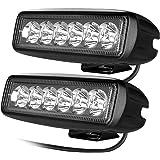 CooAgo LEDワークライト LEDライトバー オフロード 防水作業灯 CREE製18W 6連 10-30VDC対応 12V/24V兼用 白 2個セット