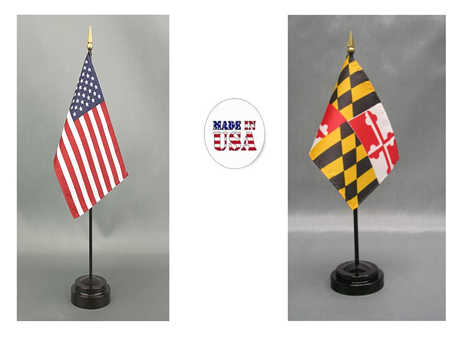 Includes 2 Flag Stands /& 2 Small Mini Stick Flags 1 American and 1 Maryland 4x6 Miniature Desk /& Table Flag Made in The USA
