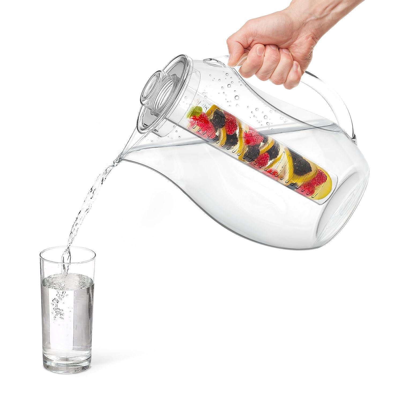 Vremi Jarra para Infusion de Agua y fruta - Jarra para infusión de plástico de 2,5 litros con tapa para el té de hoja suelta - Jarra Grande para infusión ...