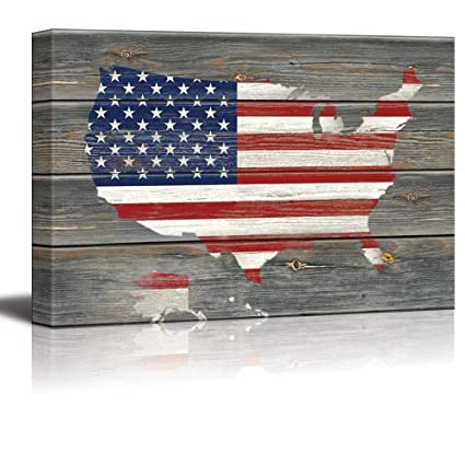 wall26 American Flag Over a Map of the United States of America Overlay on Wood Panels