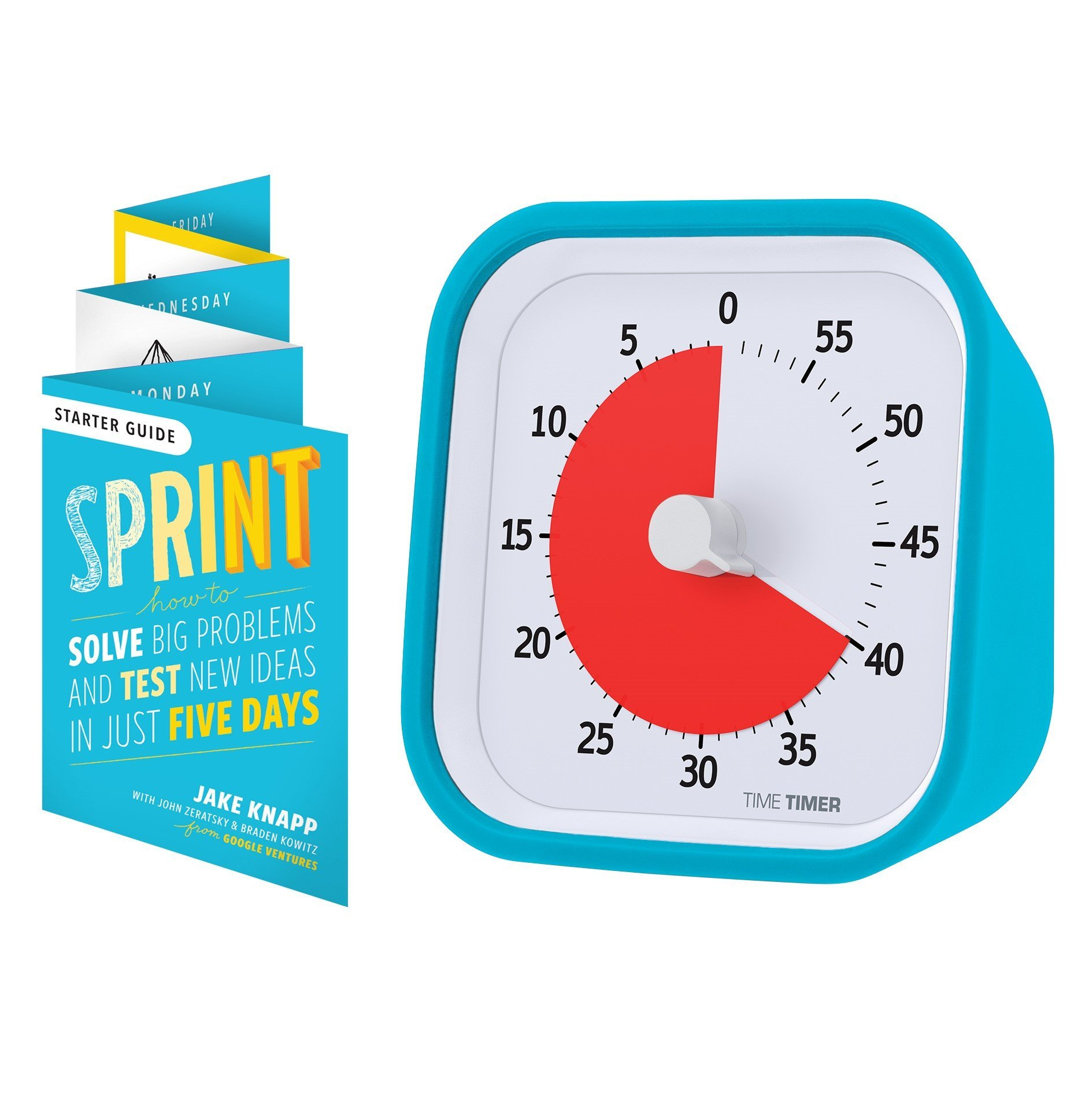Time Timer MOD Sprint Edition, 60 Minute Visual Analog Timer, Optional Alert (On/Off), No Loud Ticking; Time Management Tool, Sky Blue