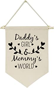 Topthink Daddy's Girl and Mommy's World - Canvas Hanging Flag Banner Wall Sign Decor Gift for Baby Kids Girl Nursery Teen Room Front Door - Gift for Girl from Dad Mom