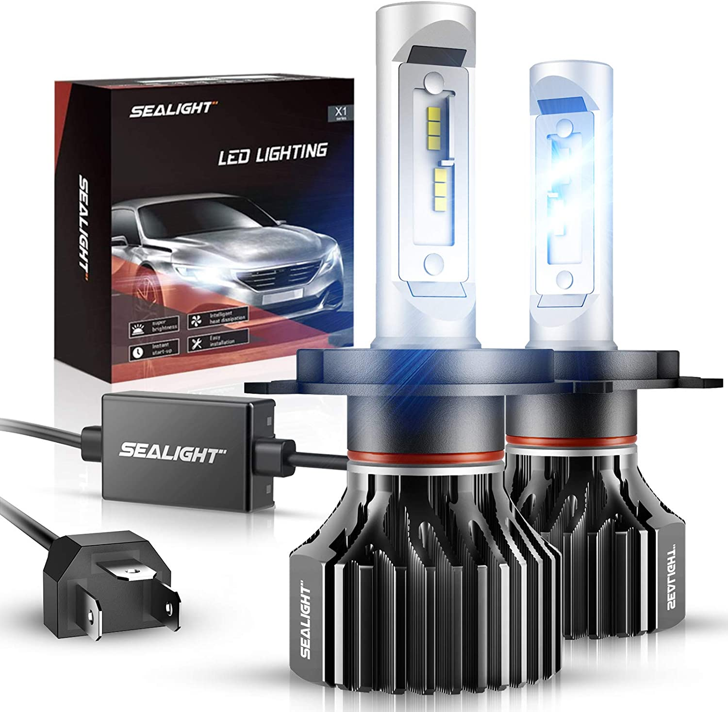 H4 9003 HB2 LED Headlight Bulbs Kit High Low Beam Canbus 100W 11000LM Ice Blue