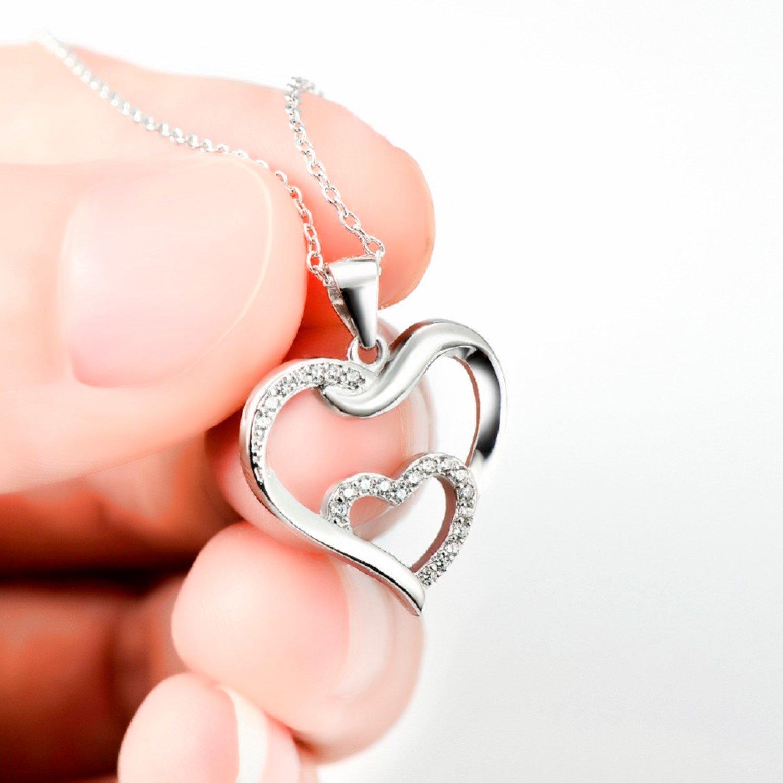 CS-DB Heart Necklaces /& Pendants Silver Fashion Jewelry