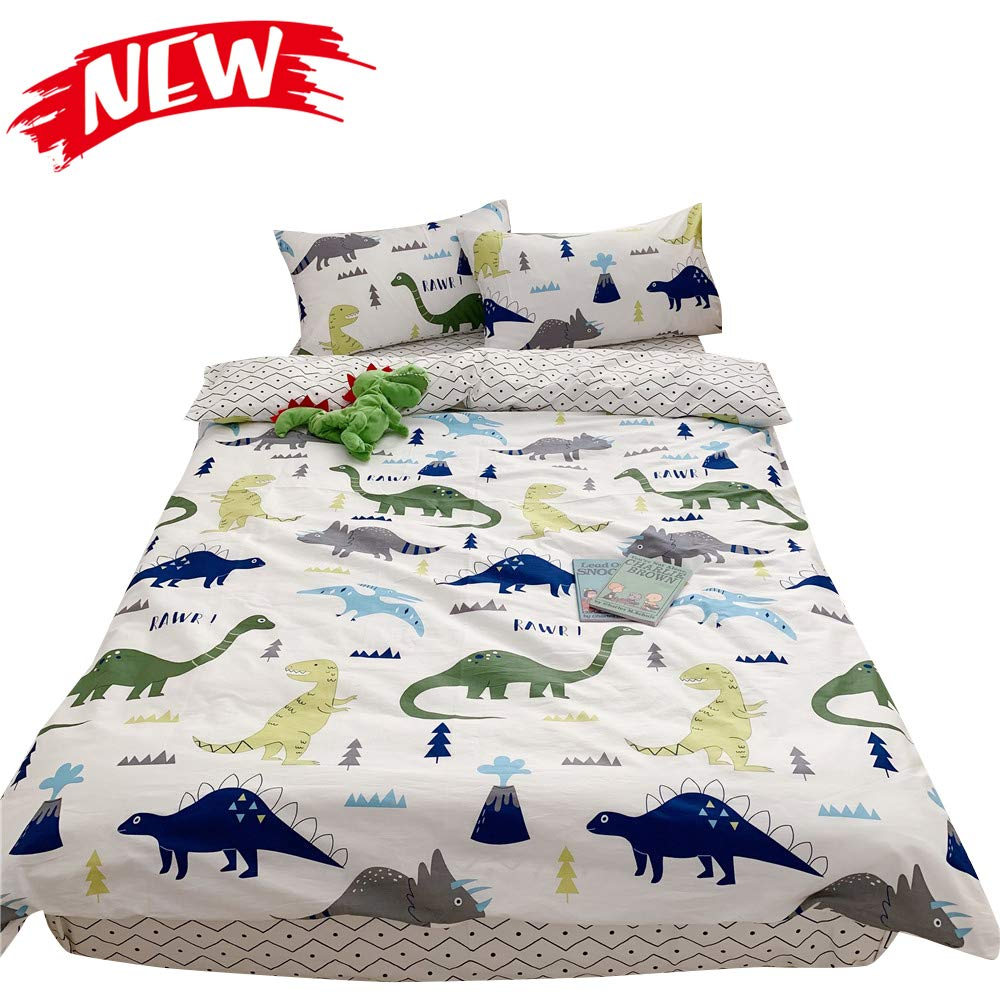 MICBRIDAL Queen Dinosaur Duvet Cover with Two Envelope Pillowsham, Boys Girls Kids Cartoon Dinosaur Bedding, 100% Cartoon Cotton Comforter Cover with Zipper Closure