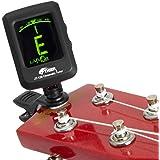 Syntoniseur de guitare chromatique - Syntoniseur à clip très précis et facile à utiliser - Convient pour guitare / Basse / Violon / Ukulélé - Batterie incluse