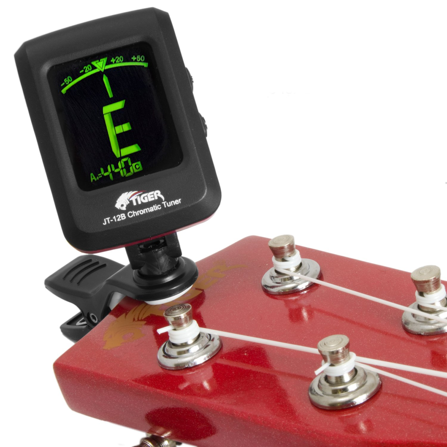 Tiger Chromatic Guitar Tuner - Easy to Use Highly Accurate Clip-on Tuner - Suitable for Guitar/Bass / Violin/Ukulele - Battery Included Tiger Music JT-12B