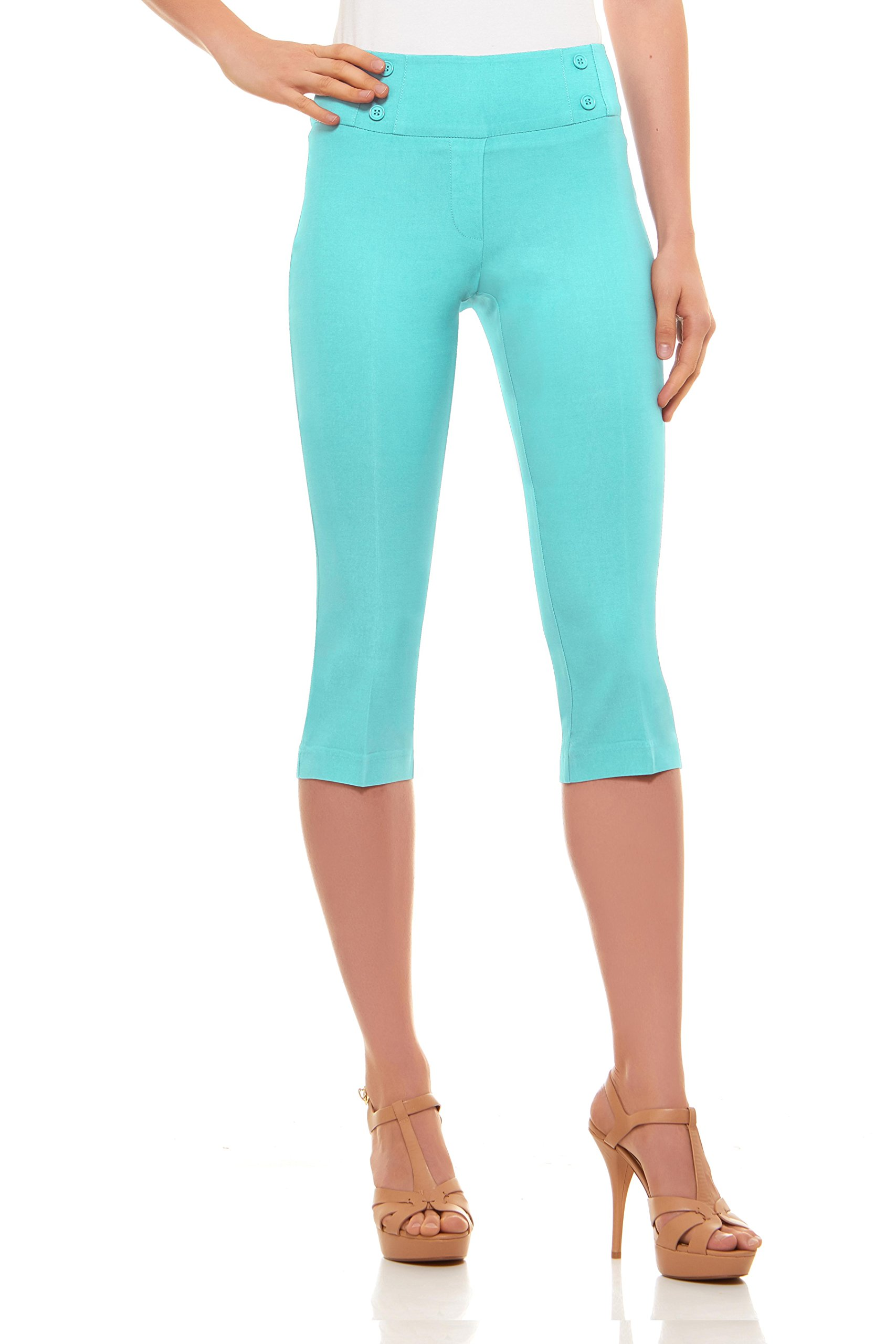 Velucci Womens Classic Fit Capri Pants - Comfortable Pull On Style With Detailed Design, Seafoam Green-M