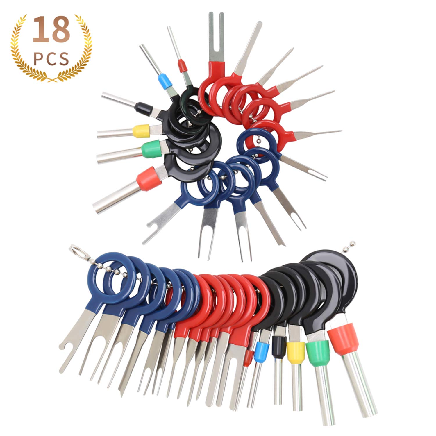 18pcs Auto Terminals Removal Tool,Terminal Removal Tool Kit for Car, Wire Connector Pin Release Extractor Tools Set for Most Connector Terminal 710iZQ83ZSL