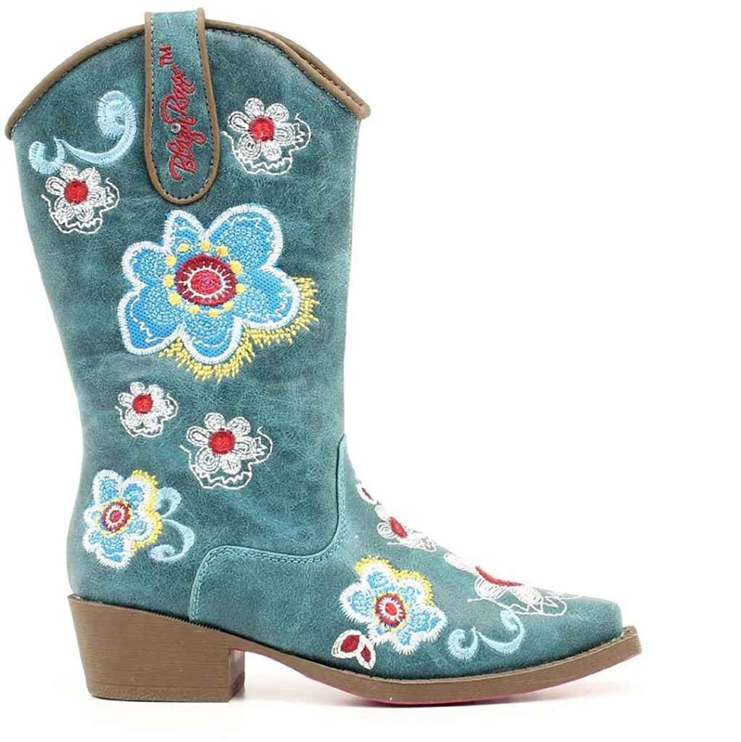 Corral Kid's Brown Floral Embroidered Square Toe Western Boots E1267