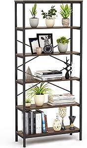 "Umekesa Bookshelf Rack 5 Tier Vintage Bookcase Shelf Storage Organizer Modern Wood Look Accent Metal Frame Furniture Home Office- Vintage Walnut, 31.4"" L × 11.8"" W × 70.9"" H"