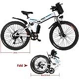 Beautytalk Foldable Electric Mountain Bike, Folding Bike 7-Speed Gear, Aluminium City E-Bike, 26-inch City Wheels, 36V 8 Ah Lithium Ion Battery