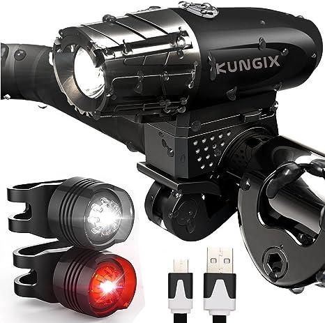 KUNGIX Lámpara LED para Bicicleta, 3 en Kit Iluminación para Faro ...