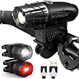 KUNGIX Unisex Adult Bike Headlight Rear Light Set, Black, 11 x 8 x 2 cm