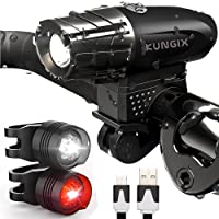 KUNGIX Lampe Vélo LED,3 en Kit Eclairage Phare Avant et Arrière Rechargeable Via USB, Lumière Puissante, Anti-éclaboussures Pour VTT Cyclisme , 11 x 8 x 2 cm