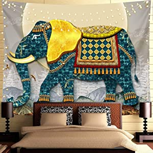 Nobranded Elephant Tapestry Wall Hanging Bohemian Psychedelic Wall Art Tapestry Indian Style Bedroom Living Room Dorm Decor, 51x59