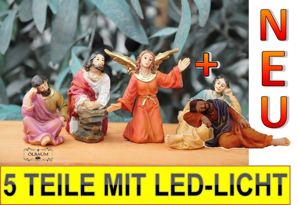 MIT LED-BELEUCHTUNG Krippenfiguren-Zubeh/örset: Engel-Erscheinung am /Ölberg im Garten Gethsemane mit Jesus und schlafenden J/üngern Mk 14,26-42,- Passion Christi f/ür 9-10 cm Figuren Batterien+EIN//AUS