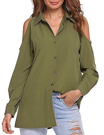 14a6365b UNibelle Women's Cold Shoulder Shirts Solid Casual Tops Loose Long ...