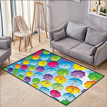 Amazon.com: Girl Bedroom Rug Apartment Decor Overcast Vivid ...