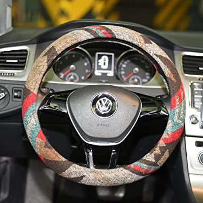 LSAUTO Universal 15inch Ethnic Style Baja Blanket Steering Wheel Cover with Coarse Flax Cloth and Sweat Absorption Anti Slip Car Wrap¡SWC08: Automotive