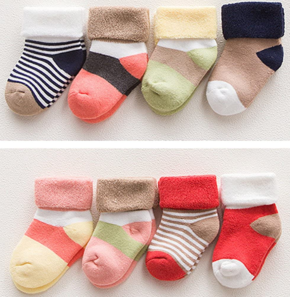 Unisex Baby Cotton Winter Socks Cute Warm Socks for Infant Toddlers(8-Pairs)