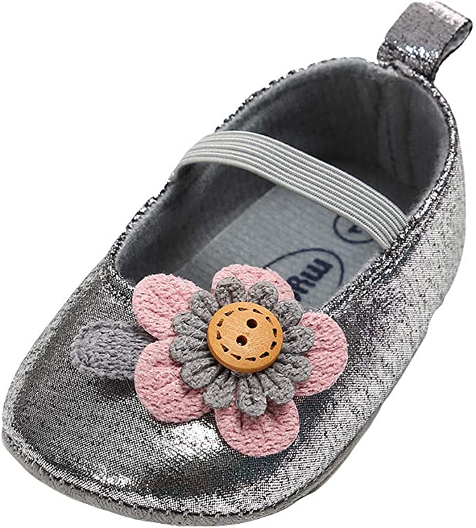 Buoyee Toddler Infant Kids Baby Girls Cartoon Flower Leather Princess Shoes Sandals