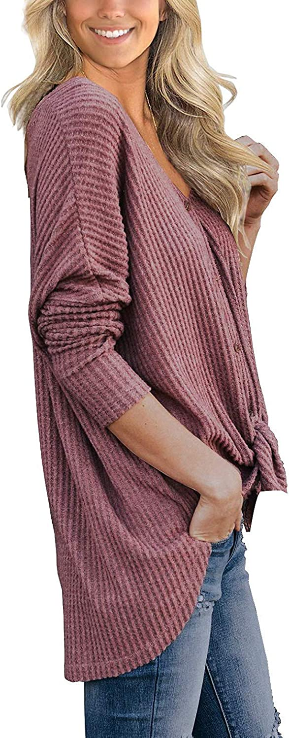 PCEAIIH Womens Waffle Knit Tunic Blouse Tie Knot Henley Tops Loose Fitting Bat Wing Plain Shirts