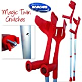 Invacare® 'Magic Twin' Strong Adjustable Crutches - Red