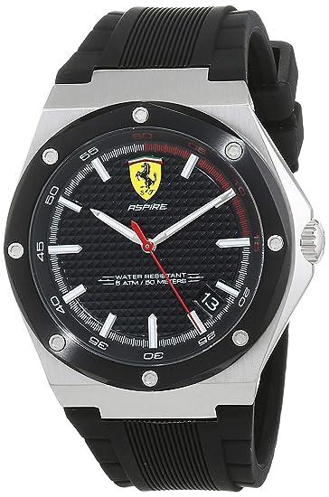 Scuderia Ferrari Reloj Analógico para Hombre de Cuarzo con Correa en Silicona 830529: Amazon.es: Relojes