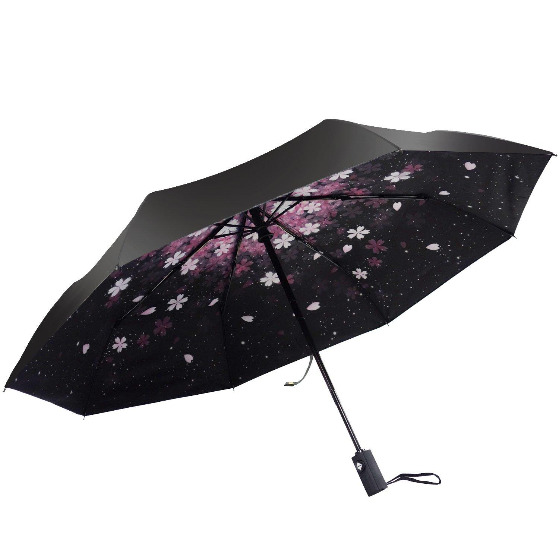 防風折りたたみ傘、ポコシナコンパクトUVプロテクション旅行防水傘女性、男性、子供、子供たちのクリスマスギフト(オートチェリーブラック) B075JCNPD2 automatic cherry